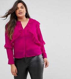 Полупрозрачная блузка с рюшами Fashion Union Plus - Розовый