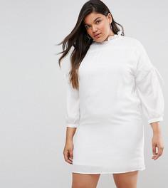 Свободное платье с длинными рукавами и сборками Fashion Union Plus - Белый