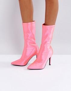 Полусапожки на каблуке ASOS EVI - Розовый