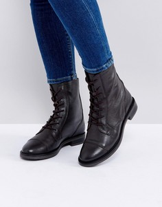 Кожаные ботинки со шнуровкой ASOS ANYWHERE - Коричневый