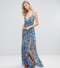 Пляжное платье макси с запахом и принтом ASOS TALL - Мульти