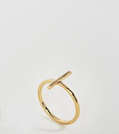Позолоченное серебряное кольцо с планкой ASOS - Золотой