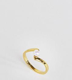 Позолоченное серебряное кольцо с искусственным жемчугом ASOS - Кремовый