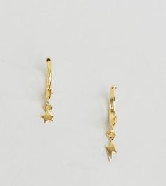 Серебряные непарные серьги‑кольца ASOS - Золотой