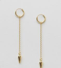 Позолоченные серебряные узкие серьги-кольца с шипами ASOS - Золотой