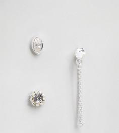 Набор непарных серебряных сережек с искусственным опалом ASOS - Серебряный