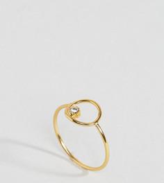 Кольцо из позолоченного серебра с круглой отделкой и камнем ASOS - Золотой