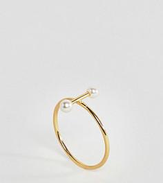 Позолоченное серебряное кольцо с жемчугом ASOS - Золотой