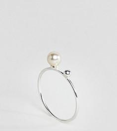 Серебряное кольцо с искусственным жемчугом ASOS - Серебряный