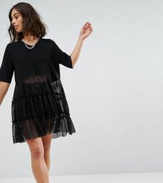 Кружевное платье с коротким рукавом Noisy May Petite - Черный