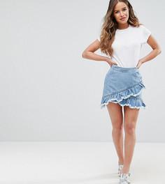 Джинсовая юбка с оборками Miss Selfridge Petite - Синий