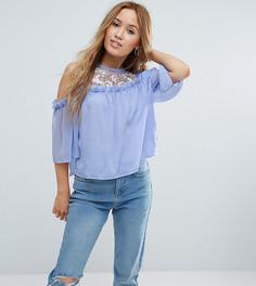 Блузка с вышивкой и открытыми плечами Miss Selfridge Petite - Синий