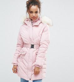 Дутая куртка с поясом Miss Selfridge Petite - Бежевый