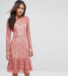 Короткое приталенное платье из кружева Y.A.S Studio Tall Cadisa - Розовый