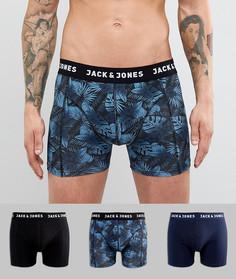 Набор из 3 пар боксеров-брифов с принтом листьев Jack & Jones - Темно-синий