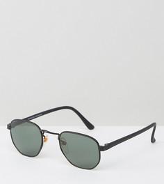 Черные солнцезащитные очки в круглой металлической оправе Reclaimed Vintage - Черный