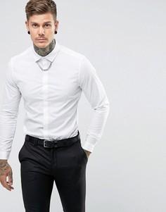 Рубашка узкого кроя с цепочкой ASOS - Белый