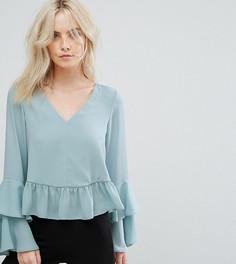 Блузка с оборками на рукавах ASOS PETITE - Зеленый