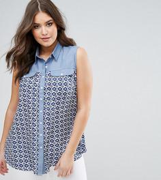 Контрастная джинсовая рубашка с принтом Koko - Мульти