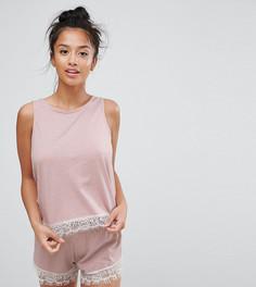Пижама из майки и шортов с кружевной отделкой ASOS PETITE - Мульти