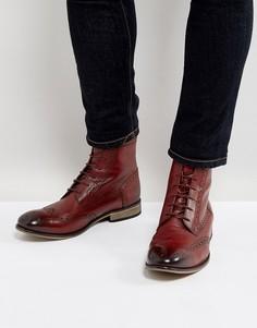 Бордовые кожаные броги на шнуровке ASOS - Красный