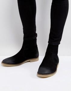 Черные замшевые ботинки челси с молнией и бежевой подошвой ASOS - Черный