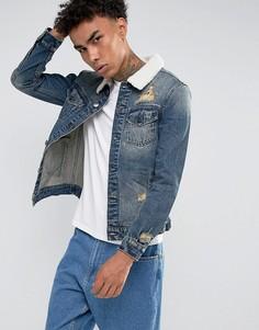 Синяя джинсовая куртка с воротником из искусственного меха Cayler & Sons - Синий