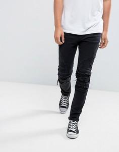 Черные облегающие байкерские джинсы с рваной отделкой Cayler & Sons - Черный