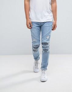 Синие облегающие байкерские джинсы с рваной отделкой Cayler & Sons - Синий