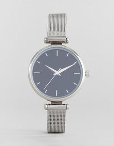 Серебристые часы с сетчатым браслетом ASOS - Серебряный
