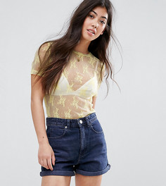 Кружевная футболка New Look Petite - Желтый
