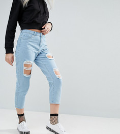 Рваные джинсы прямого кроя Noisy May Petite Liv - Синий