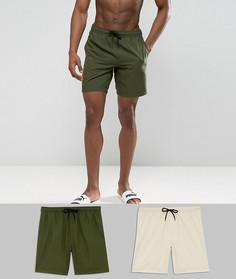 2 пары шортов для плавания (хаки, песочные) ASOS TALL - СКИДКА - Мульти