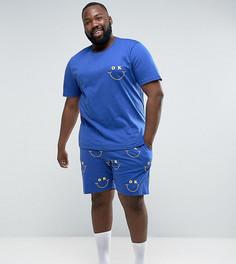 Пижамные футболка и шорты с принтом ASOS PLUS - Синий