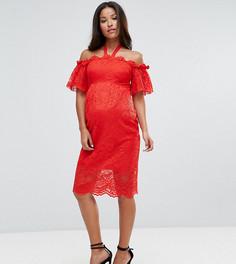 Кружевное платье с широким вырезом Hope & Ivy Maternity - Красный