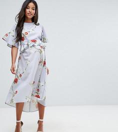 Платье с рукавами в стиле кимоно и мягкой баской Hope & Ivy Maternity - Мульти