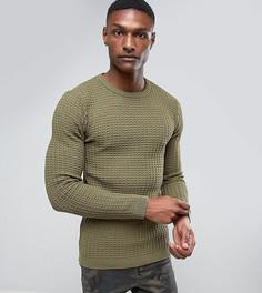 Обтягивающий фактурный джемпер цвета хаки ASOS TALL - Зеленый