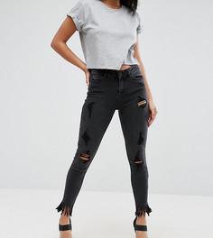 Джинсы скинни с рваными коленями New Look Petite - Черный