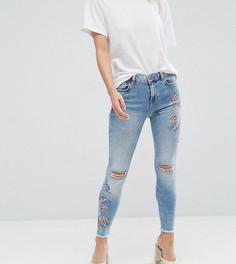 Зауженные джинсы с вышивкой New Look Petite - Синий