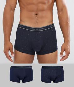 Набор из 2 боксеров-брифов с логотипом Emporio Armani - Темно-синий