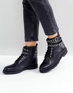 Походные кожаные ботинки с заклепками Park Lane - Черный