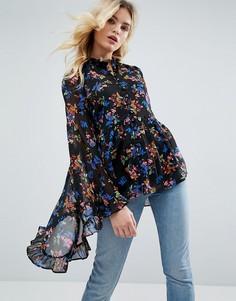 Шифоновая блузка с рукавами кимоно и цветочным принтом ASOS - Мульти
