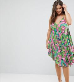 Пляжное платье с цветочным принтом ASOS CURVE - Мульти