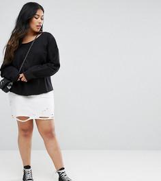 Состаренная мини-юбка ASOS CURVE - Белый