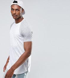 Фактурная удлиненная футболка с закругленным краем и молниями по бокам ASOS TALL - Серый