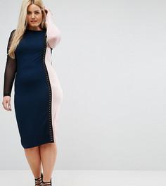 Платье миди колор блок с сетчатыми рукавами ASOS CURVE - Мульти