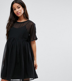 Свободное платье из дышащей ткани ASOS Maternity - Черный