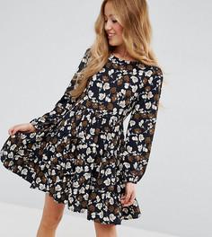 Многоярусное платье с длинными рукавами Yumi Petite - Черный