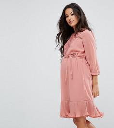 Платье с кружевной вставкой и оборкой по краю Mamalicious - Мульти Mama.Licious