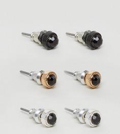 Комплект из серьг с черными камнями Chained & Able - Черный